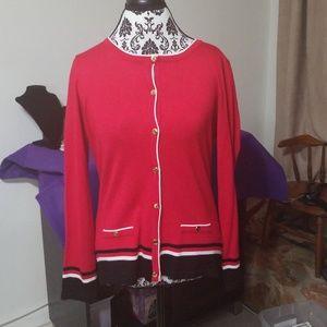 Karen Scott red/black button up cardigan
